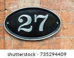27  twenty seven  number metal... | Shutterstock . vector #735294409
