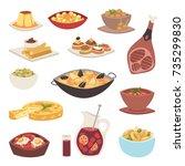 spain cuisine vector food... | Shutterstock .eps vector #735299830