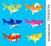 family shark set of colorful... | Shutterstock .eps vector #735303754