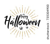 happy halloween   vintage... | Shutterstock .eps vector #735304900