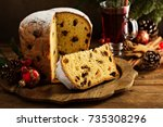 traditional christmas panettone ...   Shutterstock . vector #735308296