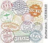 tokyo japan stamp vector art... | Shutterstock .eps vector #735308320