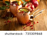 colorful and festive orange and ... | Shutterstock . vector #735309868