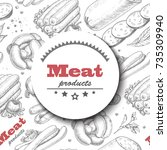 vector background with meat... | Shutterstock .eps vector #735309940