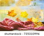 autumn composition leaves and... | Shutterstock . vector #735310996
