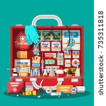first aid kit with medical... | Shutterstock .eps vector #735311818