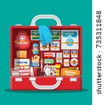 first aid kit with medical... | Shutterstock .eps vector #735311848