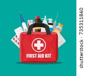 medical first aid kit with... | Shutterstock .eps vector #735311860
