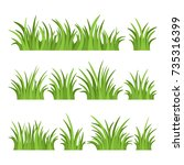 set of green grass isolated on... | Shutterstock .eps vector #735316399