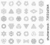 Set of geometric elements, impossible shapes, isolated on white, line design, vector illustration | Shutterstock vector #735316564