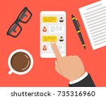 hand holding smartphone with...   Shutterstock .eps vector #735316960