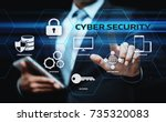 cyber security data protection... | Shutterstock . vector #735320083
