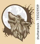 the head of a brown wolf... | Shutterstock .eps vector #735325939