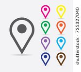 location icon vector. pin sign... | Shutterstock .eps vector #735327040