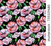 wildflower poppy flower in a... | Shutterstock . vector #735329680