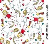 hand drawn seamless pattern... | Shutterstock .eps vector #735329686
