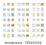set vector line icons in flat... | Shutterstock .eps vector #735331516
