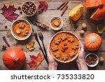 homemade pumpkin pie for...   Shutterstock . vector #735333820