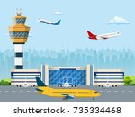 modern building of airport... | Shutterstock .eps vector #735334468