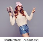 young redhead woman having fun... | Shutterstock . vector #735336454