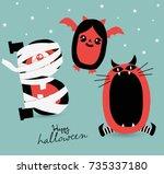 happy halloween  poster... | Shutterstock .eps vector #735337180