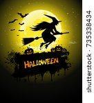 halloween poster  night... | Shutterstock .eps vector #735338434