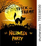 halloween night background... | Shutterstock .eps vector #735338530