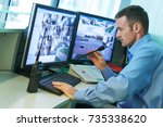 security worker during... | Shutterstock . vector #735338620