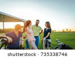 two young couples enjoying time ...   Shutterstock . vector #735338746