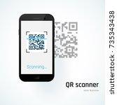 qr scanner. mobile scans qr... | Shutterstock .eps vector #735343438