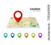 set of marker pointer on map....   Shutterstock .eps vector #735343909