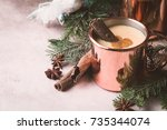 traditional winter eggnog in... | Shutterstock . vector #735344074