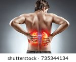 kidneys pain. man holding his... | Shutterstock . vector #735344134