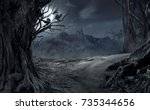 dead cliff road on the dead... | Shutterstock . vector #735344656