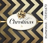 christmas typographical golden... | Shutterstock .eps vector #735351673
