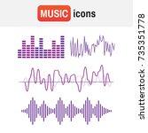 wave sound music. sound waves... | Shutterstock .eps vector #735351778