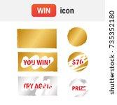 scratch card win. scratch card... | Shutterstock .eps vector #735352180
