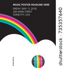 an acoustic guitar and rainbow...   Shutterstock . vector #735357640