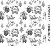hand drawn christmas seamless... | Shutterstock .eps vector #735360268