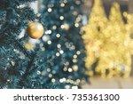 christmas decoration xmas tree... | Shutterstock . vector #735361300