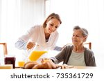 health visitor and a senior... | Shutterstock . vector #735361729