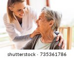 health visitor and a senior... | Shutterstock . vector #735361786