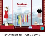 modern clothing boutique... | Shutterstock .eps vector #735361948