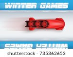 top view of bobsleigh track... | Shutterstock .eps vector #735362653