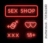 sex shop neon. vector red signs ... | Shutterstock .eps vector #735362680