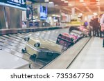 suitcase or luggage with... | Shutterstock . vector #735367750