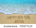 happy new year 2018 written on... | Shutterstock . vector #735377119