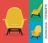 modern armchair set with... | Shutterstock .eps vector #735382870