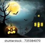 pumpkins  cemetery and a... | Shutterstock .eps vector #735384070