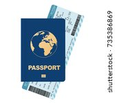 passport and boarding pass ...   Shutterstock .eps vector #735386869